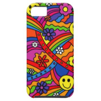 Smiley Face Rainbow and Flower Hippy Pattern iPhone 5 Case