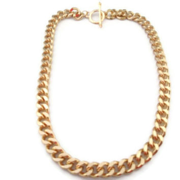 Kim Kardashian Necklace, Chunky Link Necklace, Gold, Silver, Celebrity Inspired Necklace, Jewelry, Urban, Simple, Chain Necklace
