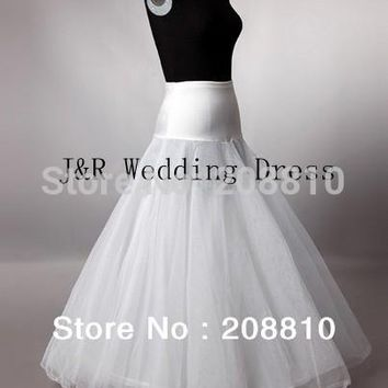Free shipping 100% gurantee High Quality A line 1-HOOP 2-LAYER wedding bridal petticoat, underskirt for wedding dresses