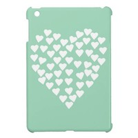 Hearts Heart White on Mint iPad Mini Cases from Zazzle.com