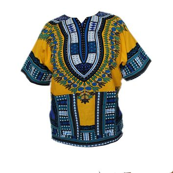 African Traditional Print Dress 100% Cotton Dashiki For Men