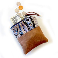 Recycled Leather Wallet Coin Card Case Zipper Pouch - Paisley and Brown