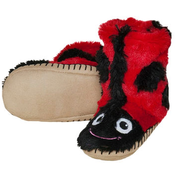 Ladybug Youth Fuzzy Fleece Slippers