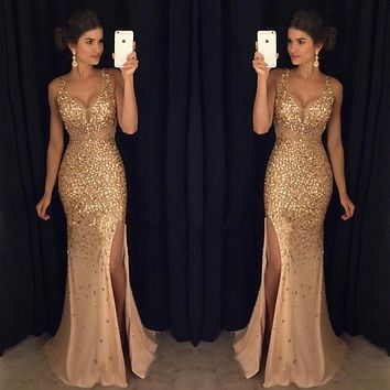 Custom Made Mermaid Sexy V Neck Long Prom Dresses High Split Sleeveless For Special Occasion Dresses 2017 Evening Party Gowns