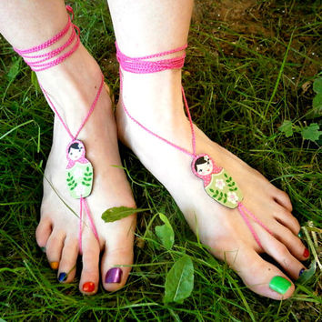 Barefoot Sandals - Matryoshka fabric jewelry - Pink Green Russian Doll With Pink Crochet Cord
