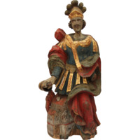 17th Century Statue of St. Florian from Alpine Europe Polychrome hand carved Wood