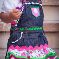 Toddler Girls Denim Pinafore Dress - Urban Flamenco Style - Made in Spain by Flamenkamelia - Bright Colourful Pink
