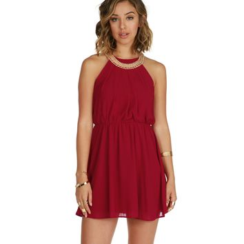 Red-burgundy Soft Pleats Dress