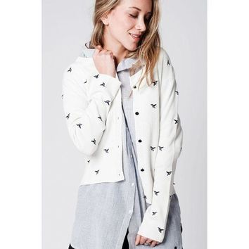 CREYON CREAM SOFT KNIT CARDIGAN WITH BIRDS EMBROIDERY