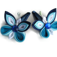 Butterfly Dark Blue, blue, white. Set of 2 hair clips for girl. Fabric flower, free shipping