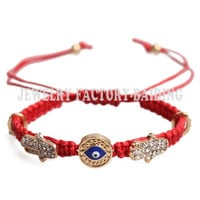 evil eye hamsa charm friendship bracelet blue eye jewelry