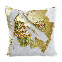 White & Gold Sequin Magic Pillow