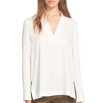 Women's Alice + Olivia 'Shelley' High/Low Stretch Silk Top,