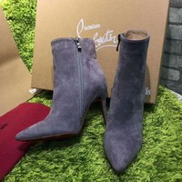 DCCK2 Christian Louboutin CL Top Suede Ankle Boot Grey