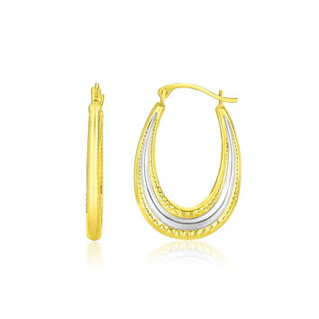 10K Two-Tone Gold Graduated Textured Oval Hoop Earrings