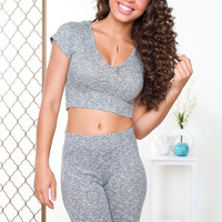 Like Fire Ribbed Crop Top - Gray