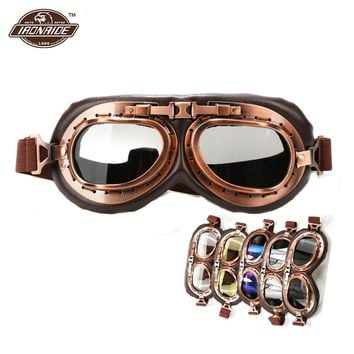 Retro Motorcycle Glasses Steampunk Copper Glasses Motorcycle Flying Goggles Vintage Biker Eyewear Goggles Windproof Glasses