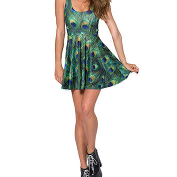 Peacock Feather Print Sleeveless Pleated Mini Dress