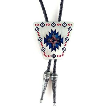 Male accessories Fashion necklace for men Black PU leather cowboy bolo tie with Tribal totem Metal buckle djustable