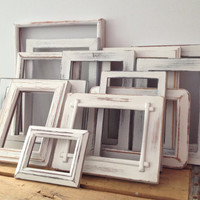 Wedding White Painted Frames - Shabby Chic Decor - Painted Chippy Picture Frames