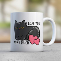 Funny Cat Mugs Loaf Heart Love Coffee Mugs Tea Cute Mugs Black Cat Kitten Cat Lover Gift Birthday Gift Girlfriend Gift