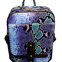 Snake Skin Detail Studded PU Backpack