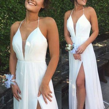 Spaghetti Strap White Slit Long Prom Dress