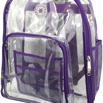 "17"" Deluxe 0.5 mm Super Heavy Duty Vinyl See Through PVC Clear Backpack"