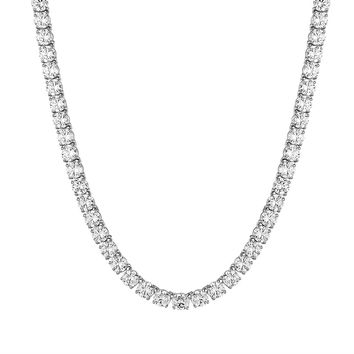 "Men's Designer 14k White Gold Finish 8mm Solitaire Designer 24"" Fashion Tennis Necklace Hip Hop"