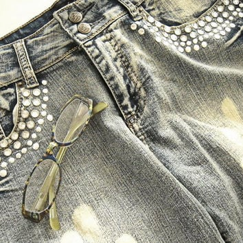 Jane Doe metal studded woman's fringed blue jeans,size 11,destroyed studded & distressed fashion jeans,gently used jeans, petit short jeans.