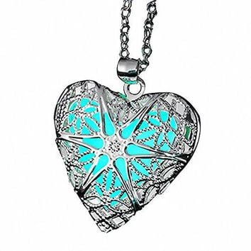 AUGUAU ELOI Magical Fairy Glow in the Dark Heart Locket Pendant Necklace for Teen Girl …