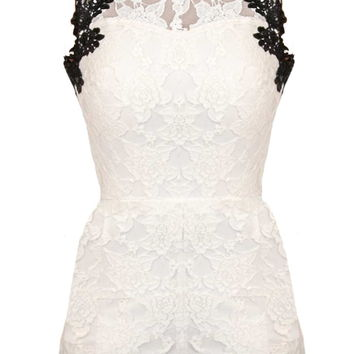 Soho Beach Romper | White Crochet Lace Open Back Playsuit | RicketyRack.com