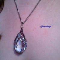 Zig Zag Wire Wrapped Glass Teardrop Pendant | specialtivity - Jewelry on ArtFire