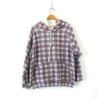 Vintage Plaid Flannel Hoodie Cotton Blend Knit Hooded Shirt Indie Girl Grunge Jacket Red White Plaid Oversized Hooded Sweatshirt Size XL