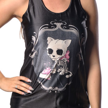 BadAssLeggings Women's Gothic Cat Tank Top Medium Black