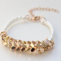 Arm candy  Gold nut beads and White cord  woven by Brinkle on Etsy