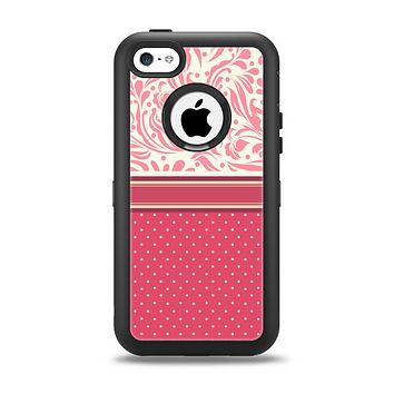 The Hot Pink Swirly Pattern with Polka Dots Apple iPhone 5c Otterbox Defender Case Skin Set