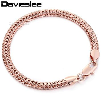 6mm Womens Girls Rose Gold Filled Bracelet Braided Foxtail Boys Mens Chain GF Gift Jewelry LGB254