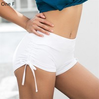 One F Sport Shorts For Women High Waist Workout Running Shorts  Fitness Clothing Drawstring Push Up Booty Stretchy Yoga Shorts