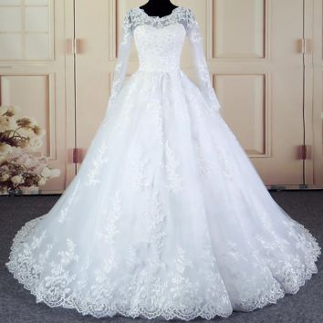 Elegant Vintage Lace White Ball Gown Wedding Dress With Sleeves Princess Bridal Gown