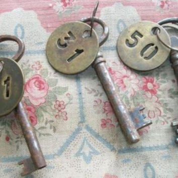 Vintage French Hotel Key brass fob room number tag (other numbers available)