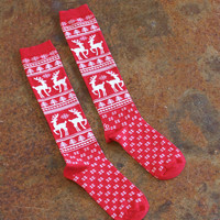 Knee High Christmas Socks {Red Mix}