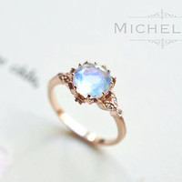 Vintage Moonstone Floral Engagement Ring in 14k or 18K Solid Gold, Art Nouveau Moonstone Laurel Leaf Ring, Blue Moonstone, Rose White Gold
