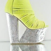 Maneater Cut Out Platform Wedge Bootie Shoe Silver Yellow