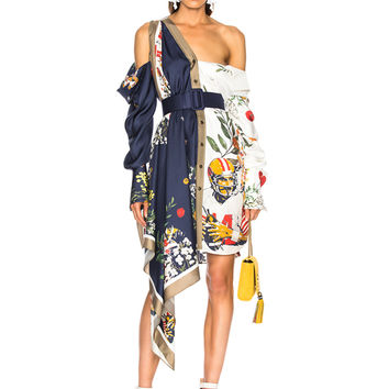 Monse Football Floral Split Print Dress in Navy & Ivory Multi | FWRD