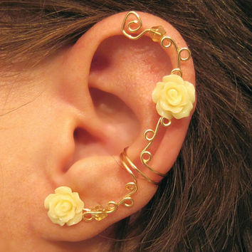 "Non Pierced Ear Cuff  ""Climbing Roses"" Cartilage Conch Cuff Gold tone and Acrylic Roses One Cuff Wedding, Prom"