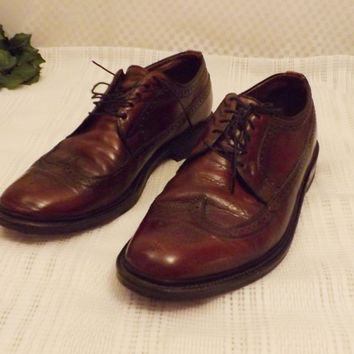 Vintage Freeman Mens Brown Leather Full Brogue Wingtips Size 10