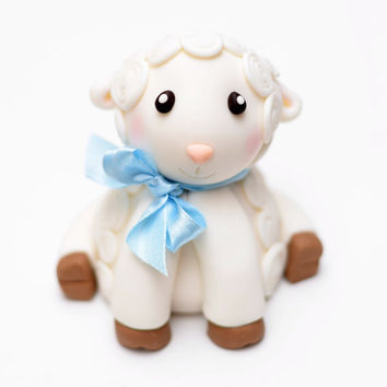 Fondant Baby Lamb Cake Topper with Bow - Special Occasion, Birthday, Baby Shower
