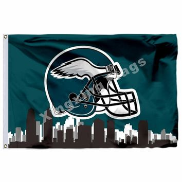 Philadelphia Eagles Helmet Philadelphia Skyline Flag 3ft X 5ft Polyester NFL1 Team Banner Flying Size No.4 90*150cm Cust
