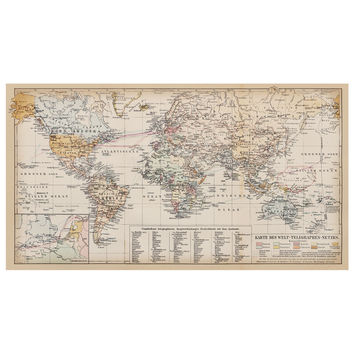 German Antique World Map Decal